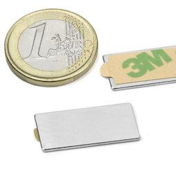 Q-25-12-01-STIC, Parallelepipedo magnetico autoadesivo 25 x 12 x 1 mm, neodimio, N35, nichelato