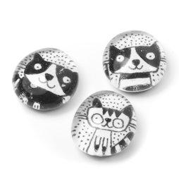 LIV-121/black, Gatos, imanes de nevera hechos a mano, 3 uds., blanco y negro