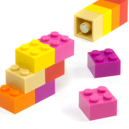 LIV-116, Building blocks colourful Girls, with press-fitted magnets, assorted, set of 12