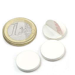 PAS-16-W, Disco metallico autoadesivo bianco Ø 16 mm, come controparte per i magneti, non è un magnete!