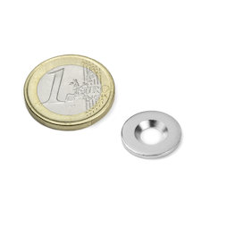 MD-15, Disco metallico con foro svasato Ø 15 mm, come controparte per i magneti, non è un magnete!