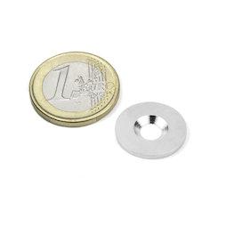 MD-18, Disco metallico con foro svasato Ø 18 mm, come controparte per i magneti, non è un magnete!