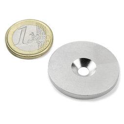 MD-34, Disco metallico con foro svasato Ø 34 mm, come controparte per i magneti, non è un magnete!
