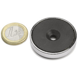 CSF-40, Magnete in ferrite con base in acciaio, con foro svasato, Ø 40 mm