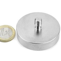 GTN-48, Imán en recipiente con vástago roscado Ø 48 mm, rosca M8, fza. sujec. aprox. 85 kg