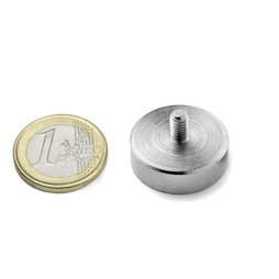 GTN-25, Magnete con base in acciaio con gambo filettato Ø 25 mm, filettatura M5, forza di attrazione ca. 25 kg