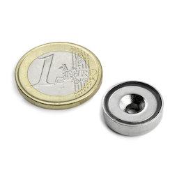 CSN-16, Magnete con base in acciaio con foro svasato, Ø 16 mm, forza di attrazione ca. 4 kg