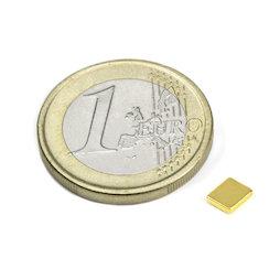Q-05-04-01-G, Parallelepipedo magnetico 5 x 4 x 1 mm, neodimio, N50, dorato