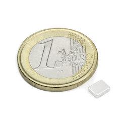 Q-05-04-1.5-N, Parallelepipedo magnetico 5 x 4 x 1,5 mm, neodimio, N48, nichelato