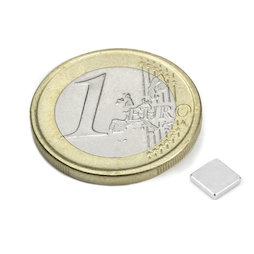 Q-05-05-01-HN, Parallelepipedo magnetico 5 x 5 x 1 mm, neodimio, 44H, nichelato