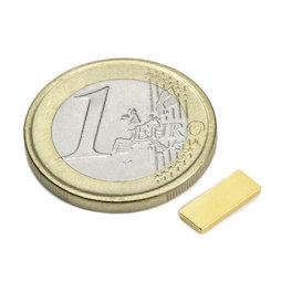 Q-10-04-01-G, Parallelepipedo magnetico 10 x 4 x 1 mm, neodimio, N50, dorato