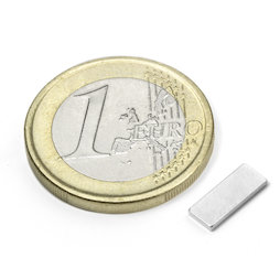Q-10-04-01-N, Parallelepipedo magnetico 10 x 4 x 1 mm, neodimio, N50, nichelato