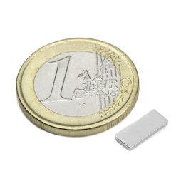 Q-10-04-1.2-N, Parallelepipedo magnetico 10 x 4 x 1,2 mm, neodimio, N50, nichelato