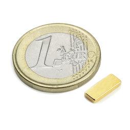 Q-10-04-1.5-G, Parallelepipedo magnetico 10 x 4 x 1,5 mm, neodimio, N50, dorato