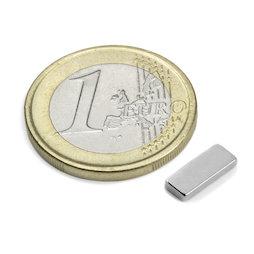 Q-10-04-1.5-N, Parallelepipedo magnetico 10 x 4 x 1,5 mm, neodimio, N50, nichelato