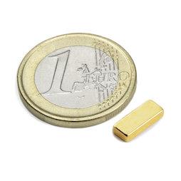 Q-10-04-02-G, Parallelepipedo magnetico 10 x 4 x 2 mm, neodimio, N50, dorato