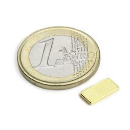 Q-10-05-1.2-G, Parallelepipedo magnetico 10 x 5 x 1,2 mm, neodimio, N50, dorato