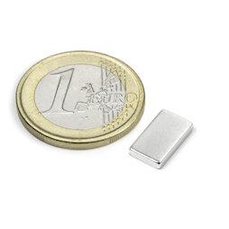 Q-12-07-02-HN, Parallelepipedo magnetico 12 x 7 x 2 mm, neodimio, 44H, nichelato