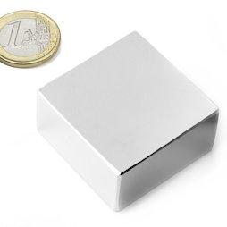 Q-40-40-20-N, Parallelepipedo magnetico 40 x 40 x 20 mm, neodimio, N42, nichelato