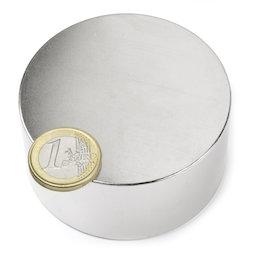 S-70-35-N, Disco magnetico Ø 70 mm, altezza 35 mm, neodimio, N45, nichelato