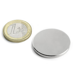 S-30-03-N, Disco magnetico Ø 30 mm, altezza 3 mm, neodimio, N45, nichelato