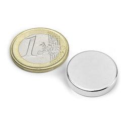 S-20-04-N, Disco magnetico Ø 20 mm, altezza 4 mm, neodimio, N42, nichelato