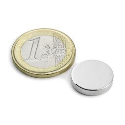 S-15-03-N52N, Disco magnetico Ø 15 mm, altezza 3 mm, neodimio, N52, nichelato