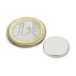 S-15-02-N, Disco magnetico Ø 15 mm, altezza 2 mm, neodimio, N40, nichelato