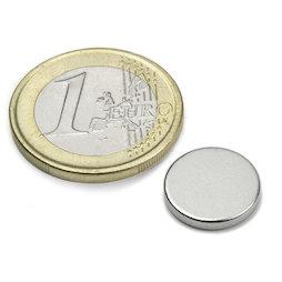 S-13-02-N, Disco magnetico Ø 13 mm, altezza 2 mm, neodimio, N45, nichelato