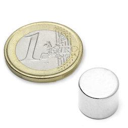 S-12-10-N, Disco magnetico Ø 12 mm, altezza 10 mm, neodimio, N45, nichelato