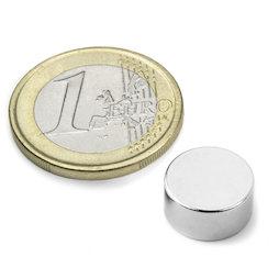 S-12-06-DN, Disco magnetico Ø 12 mm, altezza 6 mm, neodimio, N42, nichelato, magnetizzato diametralmente