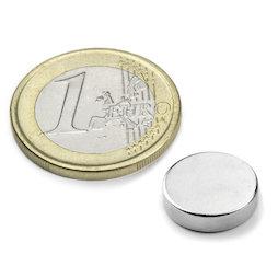 S-12-04-N, Disco magnetico Ø 12 mm, altezza 4 mm, neodimio, N45, nichelato