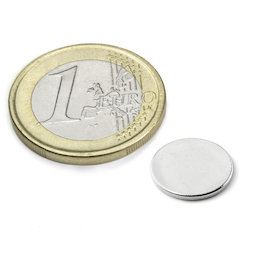 S-12-01-N, Disco magnetico Ø 12 mm, altezza 1 mm, neodimio, N42, nichelato