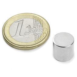 S-10-10-N, Disco magnetico Ø 10 mm, altezza 10 mm, neodimio, N45, nichelato