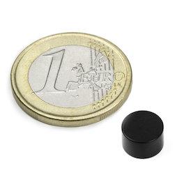 S-08-05-E, Disco magnetico Ø 8 mm, altezza 5 mm, neodimio, N45, rivestito in resina epossidica