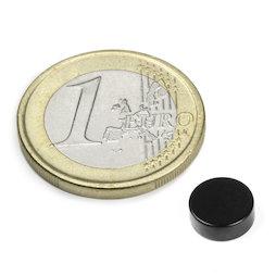 S-08-03-E, Disco magnetico Ø 8 mm, altezza 3 mm, neodimio, N45, rivestito in resina epossidica