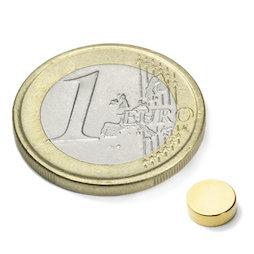S-06-02-G, Disco magnetico Ø 6 mm, altezza 2 mm, neodimio, N45, dorato