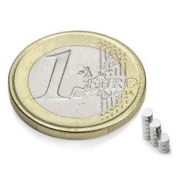 S-02-01-N, Disco magnetico Ø 2 mm, altezza 1 mm, neodimio, N48, nichelato