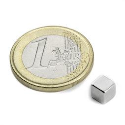 W-05-N, Cube magnétique 5 mm, néodyme, N42, nickelé