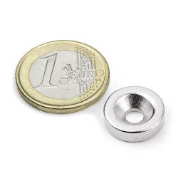 CS-S-15-04-N, Disco magnetico Ø 15 mm, altezza 4 mm, con foro svasato, N35, nichelato