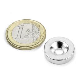 CS-S-18-04-N, Aimant disque Ø 18 mm, hauteur 4 mm, avec trou de fixation biseauté, N35, nickelé
