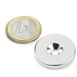 CS-S-27-04-N, Disco magnetico Ø 27 mm, altezza 4 mm, con foro svasato, N35, nichelato