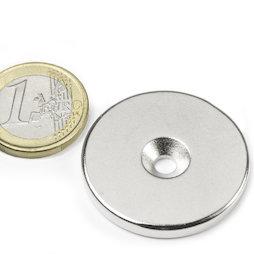 CS-S-34-04-N, Disco magnetico Ø 34 mm, altezza 4 mm, con foro svasato, N35, nichelato