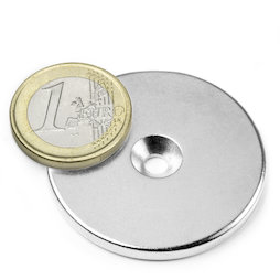 CS-S-42-04-N, Disco magnetico Ø 42 mm, altezza 4 mm, con foro svasato, N35, nichelato