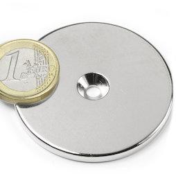 CS-S-50-04-N, Disco magnetico Ø 50 mm, altezza 4 mm, con foro svasato, N35, nichelato