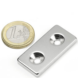 CS-Q-40-20-04-N, Parallelepipedo magnetico 40 x 20 x 4 mm, Con foro svasato, N35, nichelato