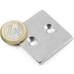 CS-Q-40-40-04-N, Parallelepipedo magnetico 40 x 40 x 4 mm, Con foro svasato, N35, nichelato