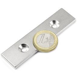 CS-Q-80-20-04-N, Parallelepipedo magnetico 80 x 20 x 4 mm, Con foro svasato, N35, nichelato