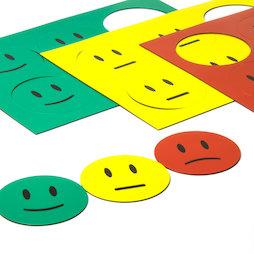 BA-016, Simboli magnetici smiley, per lavagne bianche & lavagne per la progettazione, 6 smiley per foglio A5, set di 3 pezzi: verde, giallo, rosso
