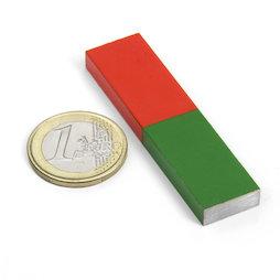 EDU-7, Stabmagnet eckig kurz, 60 x 15 mm, aus AlNiCo5, rot-grün lackiert